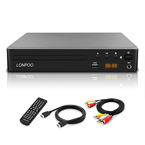 LONPOO Compact DVD CD Player Support 1080P All Regin Discs Play, HDMI & AV Output (Cable Included), USB2.0 Port Input, Mic Port