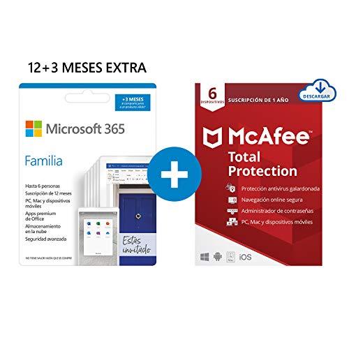 Microsoft 365 Familia | Apps Office 365 | PC/MAC/teléfono | Suscripción anual | 12+3 Meses | + McAfee Total Protection 2020 | 6 Dispositivo | 12 Meses | PC/Mac/Android/Smartphones - Código por email