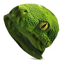 ヘビ緑 写真 帽子 保温 通気抜群 薄手 室内室外帽 シンプル オシャレ 柔らかい メンズ レディース 通用帽 オールシーズン