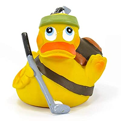 Golfer Rubber Duck Bath Toy | All Natural, Organic, Eco Friendly, Squeaker | Lanco Brand | Imported from Barcelona, Spain