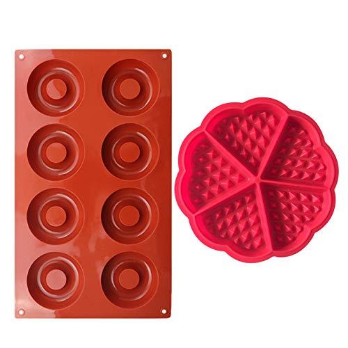 Moldes Reposteria Silicona,1 PCS Molde para Hornear Gofres + 1 PCS Molde Donuts Antiadherente Molde para Muffins de Corazón Lavavajillas Molde Panqueques para Pasteles Galletas Bagels