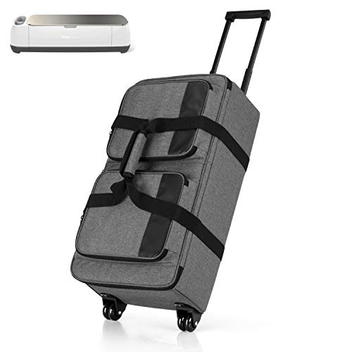 Luxja Rolling Tote Compatible with Cricut Explore Air (Air2) and Maker, Carrying Case with Wheels and Storage Pockets for Cricut Die-Cut Machine (Also Fits for Cameo 3), Gray (Patented Design)