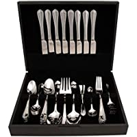 54-Piece Hampton Forge Brooke Flatware Set with Wood Storage Chest