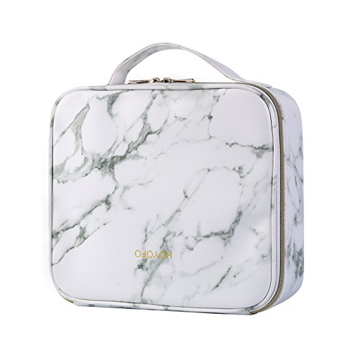 HOYOFO Marble Travel Makeup Case with Adjustable Dividers Makeup Organizer Bag Portable Cosmetic Storage Cases with Brush Holders, Marble White