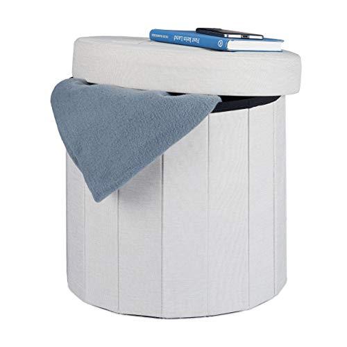 Relaxdays Pouf Poggiapiedi Imbottito con Box Contenitore e Coperchio, Rotondo, Lino, Color Crema, 38 cm