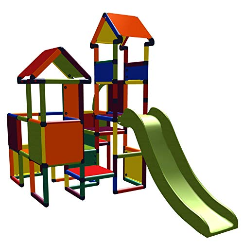 move and stic 6524 - Spielburg Moritz, Kletterturm mit Rutsche Multicolor, geeignet für Kinderzimmer, Spielzimmer oder auch draußen im Garten