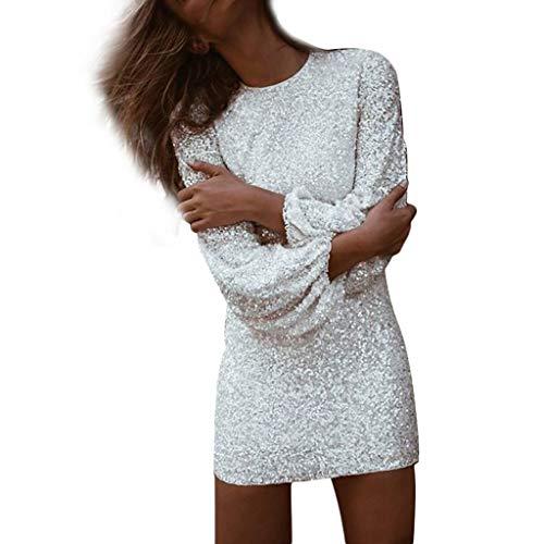 Routinfly Damen kleid Rundhals sexy hohe Taille Langarm Pailletten Mini Abendkleid Bleistiftrock Mittellange Pulloverkleid mit verdrehter Taille