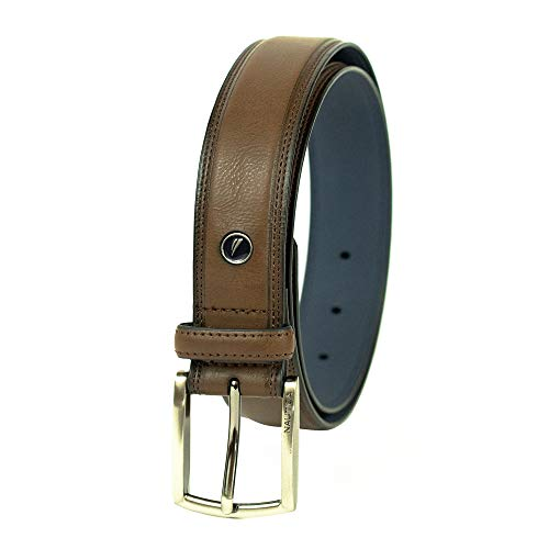 Nautica Men's Feathered Edge with Double-Stitch Casual Leather Belt (With Big & Tall Sizes)