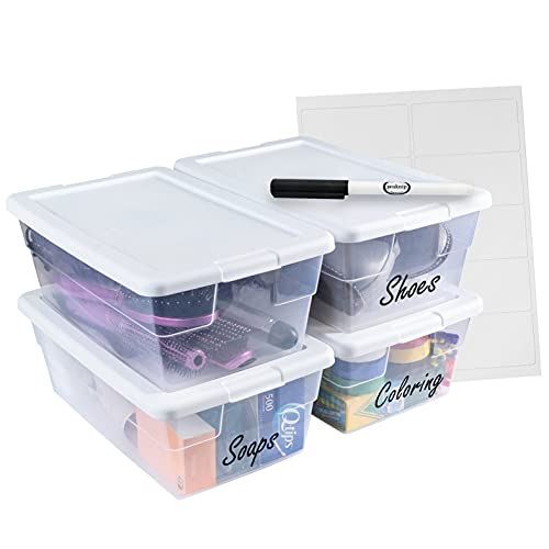 Sterilite 6 Quart Stackable Plastic Storage Bins with Lids (4 Pack) - Bundled with Labels and Marker