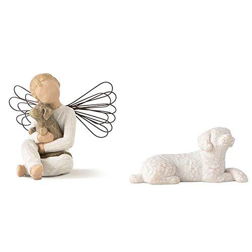 Willow Tree Figurine Angel of Comfort Figurine & Love My Dog Small Lying Figurine