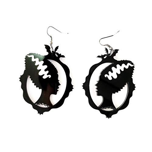 Qirun Pendientes Colgantes de acrílico con Cabeza de Bruja Hueca exagerada Pendientes Colgantes de Halloween
