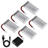 Makerfire 5 Pezzi 1S 3,7V Lipo Batteria 1200 mAh con Caricabatterie 5 in 1 per SYMA X5S X5SW X5SC...