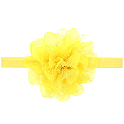 Floral Fall Baby Girls Cute Elastic Chiffon Lace flower Headbands Hair Bands BY-36 (Yellow)