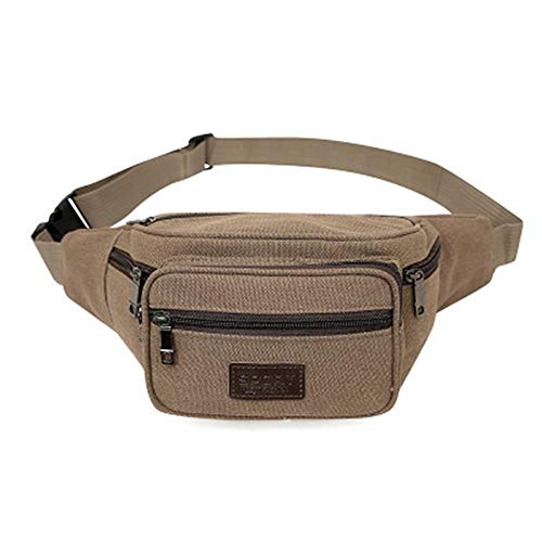 Bumbag Multi-functional Canvas Pockets Large-capacity Multi-layer Money Collection Business Bag Outdoor Sports Pockets Bumbags Travel Hiking Outdoor Sports (Color : Brown)