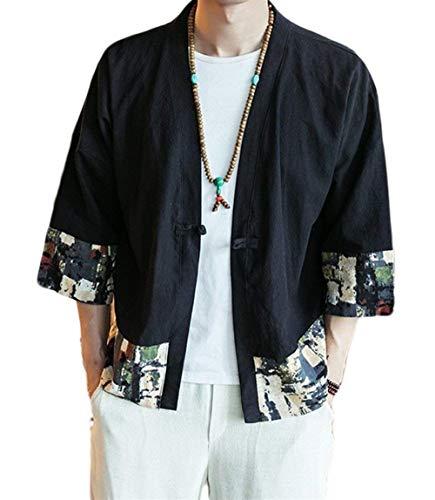 Betrothales Männer Nner Bomberjacke Ethno-Style Shirt Lose Robe Sommer Vintage Elegant Jacken Gedruckt Spleiß 3/4 Ärmel Tops Outwear...