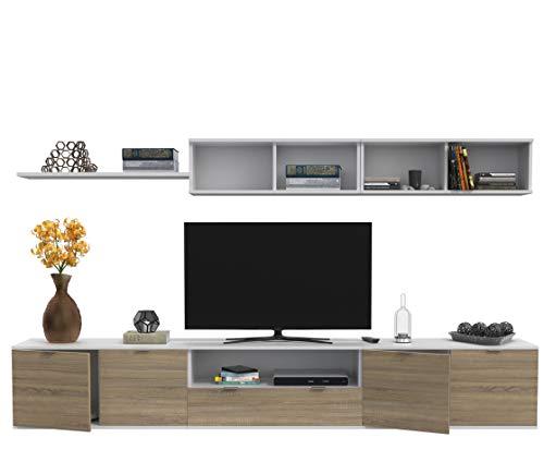 Dormidán- SL9, Mueble de Comedor, Conjunto de Salon, módulo bajo, modulo Colgante (Blanco/Roble, 3 Metros)