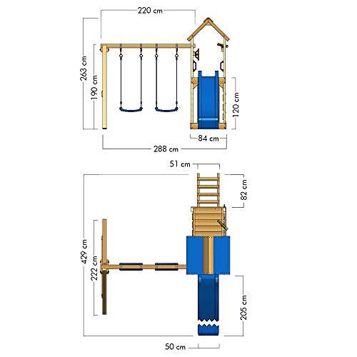 WICKEY Spielturm Klettergerüst MultiFlyer mit Schaukel & türkiser Rutsche, Kletterturm mit Sandkasten, Leiter & Spiel-Zubehör - 3
