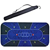 8 Player Portable Rubber Poker Table Mat, Texas Hold'em Tablecloth Poker Board Mat, Rectangular Game Layout Mat with Carrying Bag 120Cm,Blue