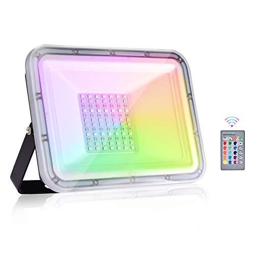 Viugreum 50W Faretto LED RGB Esterno, Proiettore Natale LED IP67, 4 Modalità 16 Colori con Telecomando, LED Colorati, Faretti Giardino, Faro per Decorare Feste Natale Giardino Cortile Attività