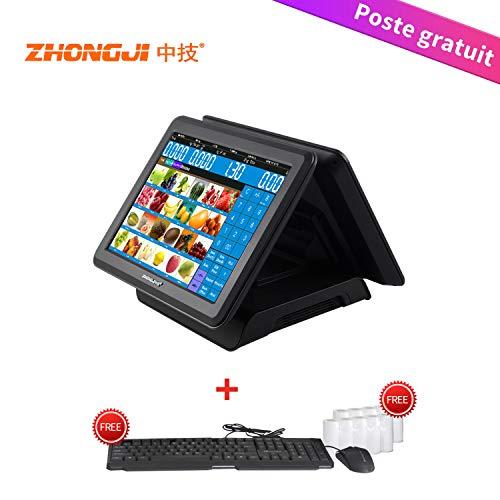 ZHONGJI ZJ180D Tous dans un point de vente système de caisse enregistreuse système d'affichage double écran tactile 15 '' pour petits restaurants, commerce de détail, noir