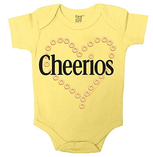 Cheerios Heart Onesie-6MO Yellow