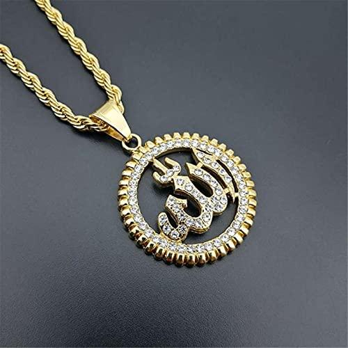 SONGK Collares con Colgante de Alá Redondo religioso, Collar de Diamantes de imitación de Acero Inoxidable de Color Dorado, joyería islámica Brillante con Hielo