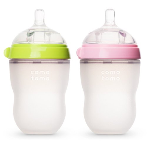 Fantastic Prices! Comotomo Natural Feel Baby Bottles, Green & Pink, 250ml (8 oz)