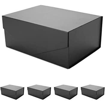 """ZMYBCPACK 2 Pack Luxury Large Black Gift Boxes 14/""""x9.5/""""x4.5/"""" Anniversary Reusable Sturdy Boxes Decorative Storage Boxes Collapsible Magnetic Closure Gift Boxes for Wedding Birthday Baby Shower"""