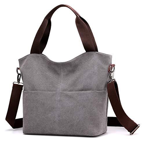 Hobo Handbags, DOURR Canvas Crossbody Bags for women Fashion Crossover Purse Cotton Shoulder Bag (Gray)