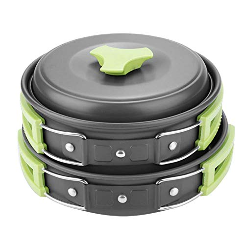 Omabeta Olla de Cocina 8Pcs / Set Utensilios de Cocina Aleación de Aluminio portátil para Actividades al Aire Libre para Acampar(Green Handle)