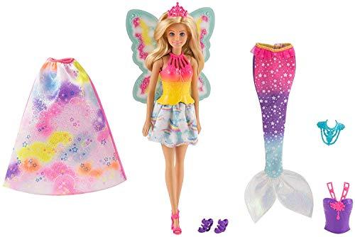 Barbie Dreamtopia, muñeca 3 en 1, princesa, hada y sirena (