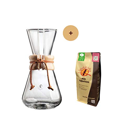Chemex Karaffe für 3 Tassen (450 ml) Aktionspaket mit 250 gr. Filterkaffee von der Kaffeerösterei Mondo del Caffè