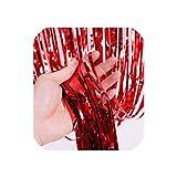 ホワイトメタリック箔カーテン結婚式の背景誕生日パーティーの装飾キッズパーティー用品タッセル花輪マリアージュ装飾、赤、2ピース3Ftx8Ft
