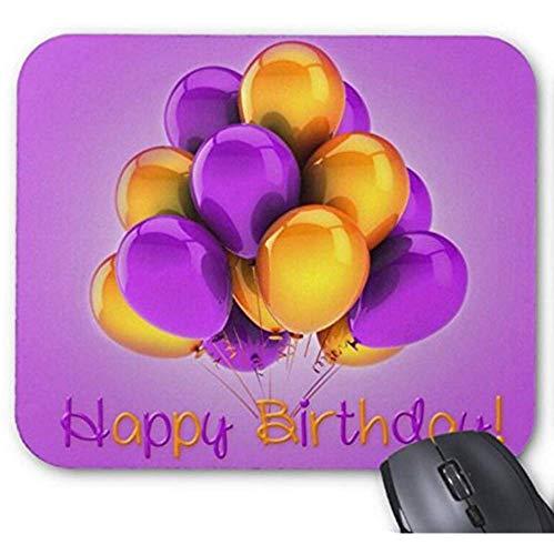 Mauspad Happy Birthday lila gelbe Luftballons Bild Druck Mauspad 23,9 x 19,8 cm