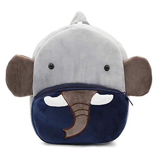 Zaino per animali dei cartoni animati,REYOK Zaino Asilo Bimba Animali Cartoon Mini Nido Peluche Bambini nimato Carino per bambina bambino 1-3 anni Cute Backpack-Elefante