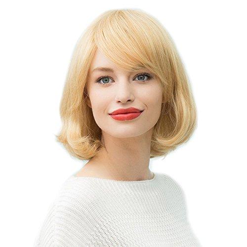 Asifen Medium Longueur intérieure Cheveux humains avec frange Perruques pour femme
