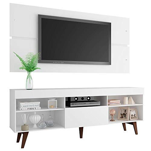 Rack com Painel para Tv até 65 Polegadas Madesa Miami com Pés - Branco/rustic