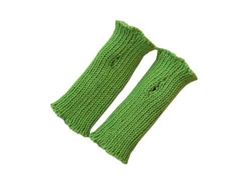 100% Merinowolle Baby Kleinkind Armstulpen Strick Fäustlinge Gr. 1-2 Jahre, grün