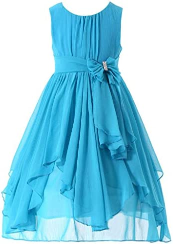 Bow Dream Flower Girl Dress Bridesmaid Ruffled Chiffon Blue 6 product image