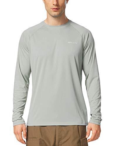 Men's Sun Protection Long Sleeve Shirt UPF 50+ Quick Dry Outdoor Hiking Running UV Shirt-Grey-L