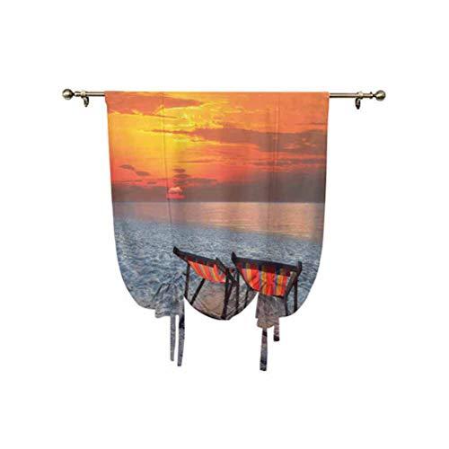 Seaside Decor - Cortinas para parejas, sillas en playa arenosa con vistosos paisajes de cielo y naturaleza, con aislamiento térmico, 137 x 150 cm, para ventanas del hogar, color naranja, rojo y gris
