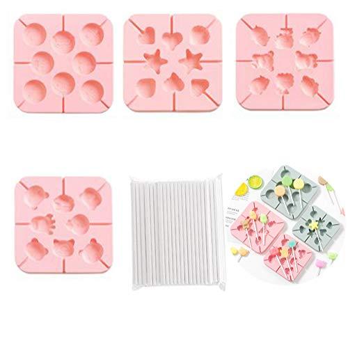 Tancurry - Moldes de silicona para golosinas (4 unidades, con 100 palitos de cakepopops, hechas a mano, para hacer moho, gelatina, chocolate, helado, color rosa)