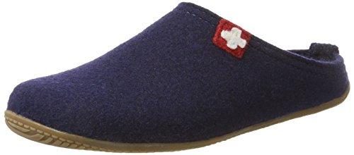 Living Kitzbühel Unisex-Erwachsene Pantoffel Schweizer Kreuz mit Fußbett Pantoffeln,Blau (Nachtblau 590), 43 EU