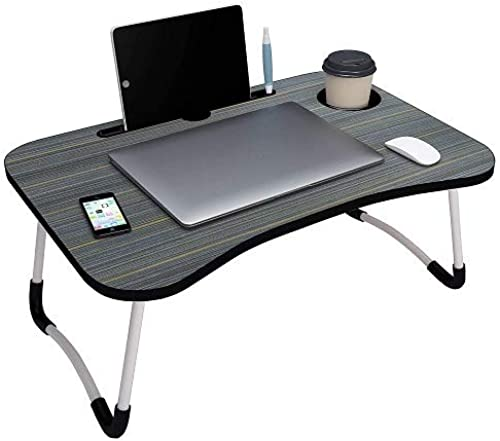 RUDRA ZONE Foldable Bed Study Table Portable Multifunction Laptop Table Lapdesk for Children Bed Foldabe Table Work Office Home with Tablet Slot Cup Holder Bed Study Table Brushed Black