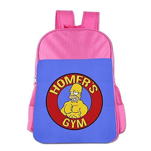 Simpsons - Mochila infantil de poliéster impermeable para niños de 3 a 13 años, rosa, Talla única