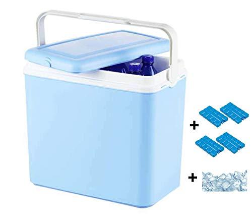 Interior WA239V Kühlbox, Mini Kühlschrank 24 L fürs Auto, Autokühlschrank Campingbox, Minikühlschrank für Unterwegs, inkl. 4 Kühlakkus, blau