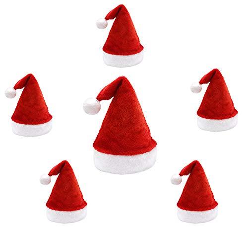 Pack 6 Gorro Papá Noel de Navidad de Santa Claus de Terciopelo de Felpe Suave Sombreros Rojos Navideño de Invierno para Fiesta Festiva de Año Nuevo para Adultos y Niños Unisex (4 Adulto 2 Niño)
