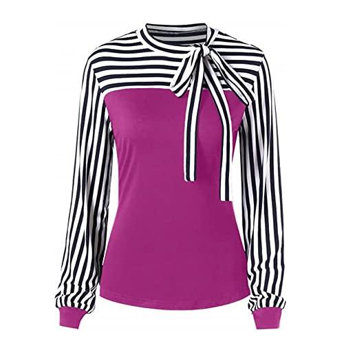 Otoño para mujer Casual para mujer con cuello en V Blusa de manga larga Tops de mujer Elegante lazo de coño con puños Camisa de cuello con lazo de trabajo básicos Camisas casuales a rayas para mujer