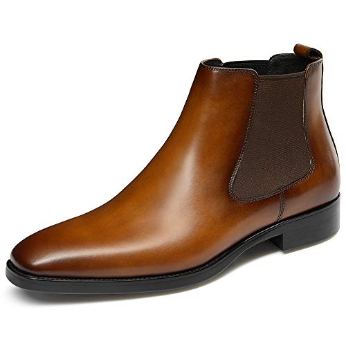 GIFENNSE Mens Chelsea Boots Leather Dress Boots for Men 10US Brown