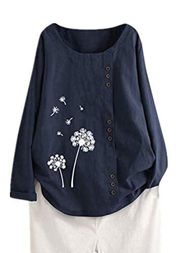 Auiyut Leinen Bluse Damen Herbst Neue Leinenshirts Blusen Blumen Lose Tunika Oberteile Boho Casual T-Shirt Tops Bluse Langarmshirt mit Knopf